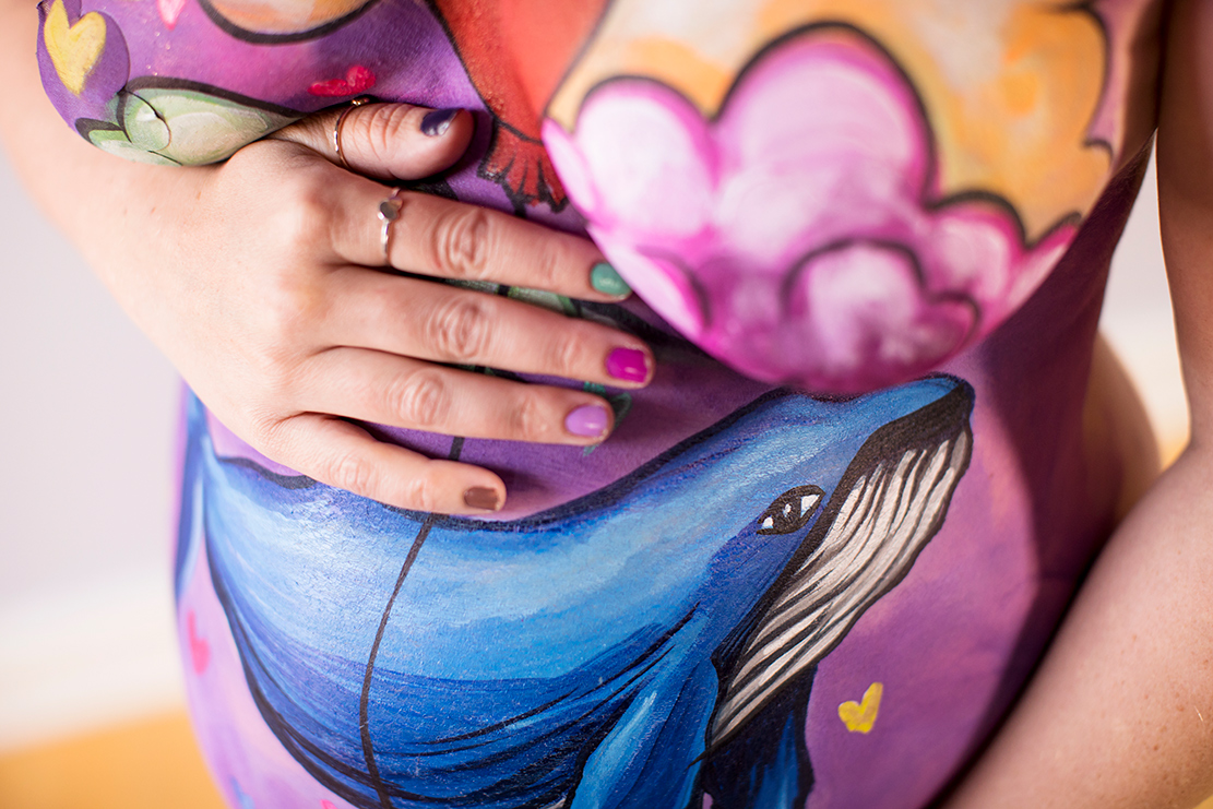 Body Painted Pregnant Belly Maternity Photo Shoot - Image Property of www.j-dphoto.com