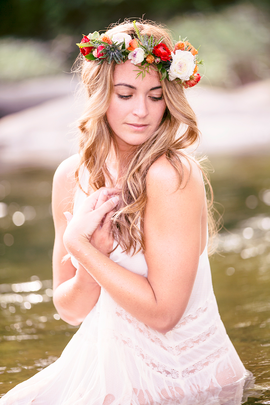 Flower Crown Boudoir Photo Shoot On The River  - Image Property of www.j-dphoto.com