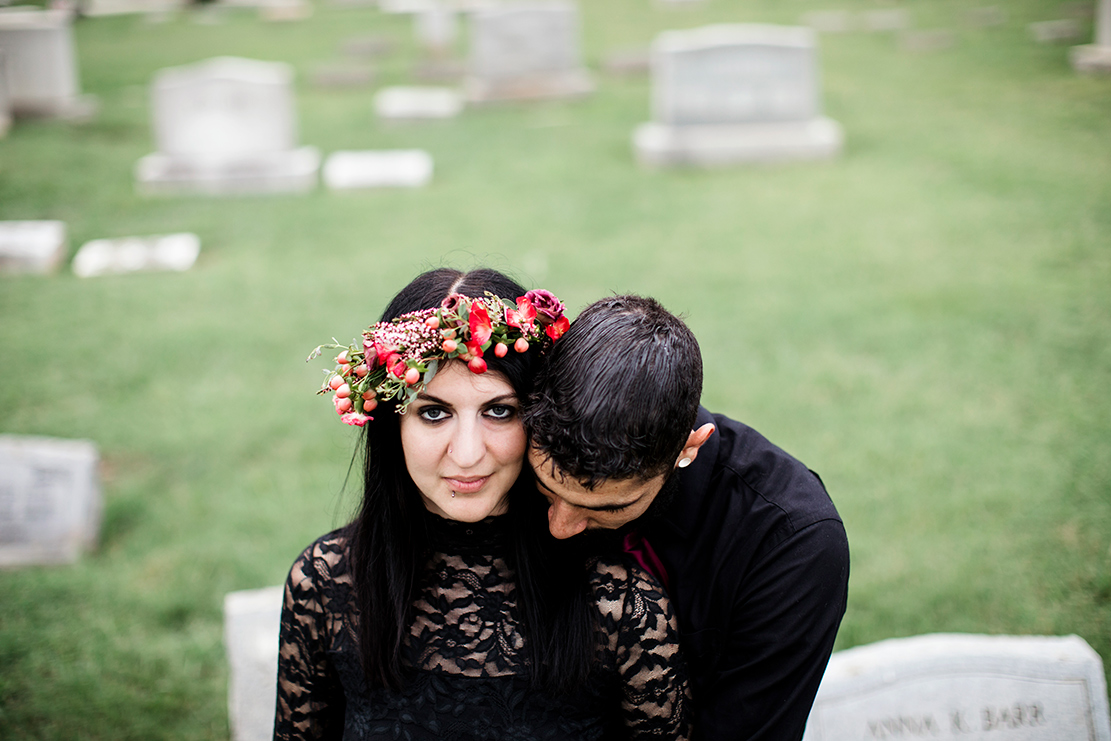 Stephanie  Brads Engagement Shoot in a Graveyard - Image Property of www.j-dphoto.com